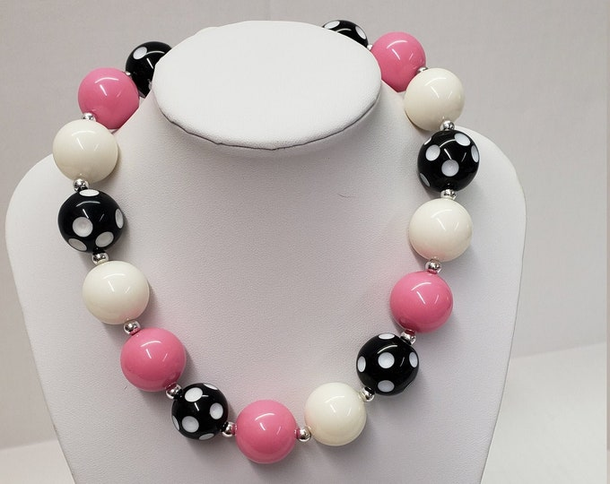 CHUNKY BUBBLE GUM  Necklace -Minnie Pink black Bubblegum Necklace - Girl Chunky Necklace - Chunky Bead Necklace - Elastic Necklace, Necklace