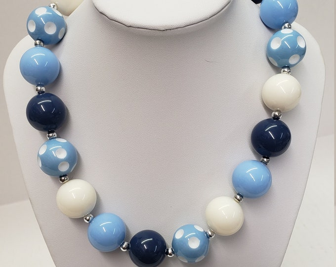CHUNKY BUBBLE GUM  Necklace - Blue white Bubblegum Necklace - Girl Chunky Necklace - Chunky Bead Necklace - Elastic Necklace, Necklace