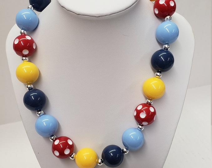 CHUNKY BUBBLE GUM  Necklace - Colorful Bubblegum Necklace - Girl Chunky Necklace - Chunky Bead Necklace - Elastic Necklace - Red Necklace