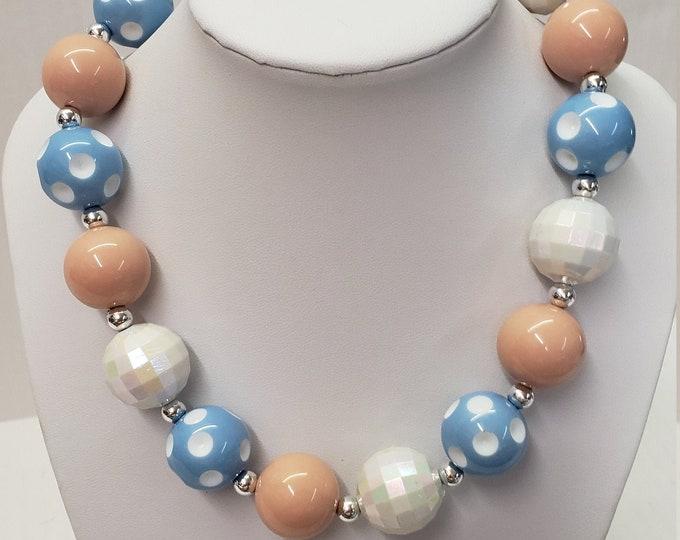 CHUNKY BUBBLE GUM  Necklace -  Blue Bubblegum Necklace-Girl Chunky Necklace -Birthday Toddler Necklace -Elastic Necklace-Baby Necklace