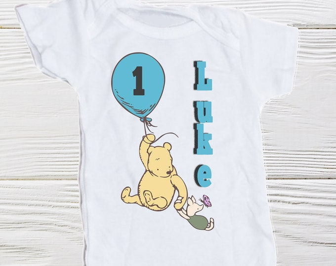 Baby First birthday Pooh Piglet  Onesie  Pooh birthday personalized Onesie  Toddler Classic Pooh onesie