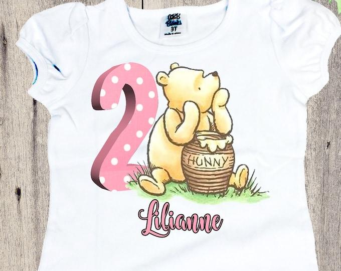 Birthday girls shirt vintage Pooh personalized shirt Classic Pooh bear  shirt