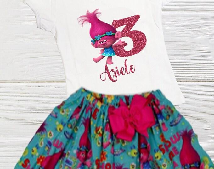 POPPY TROLL DRESS - Troll Birthday Dress - Poppy Troll Outfit -  Baby  birthday Clothes - Poppy birthday dress  - Girl Toddler Clothes