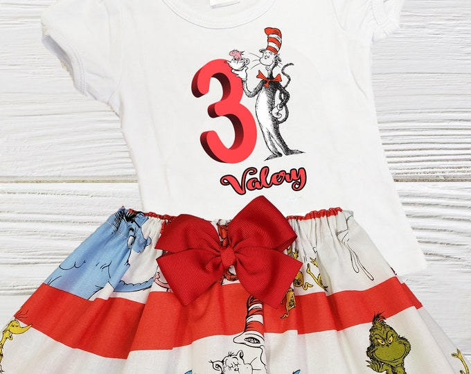 Cat in the Hat girls birthday outfit | Dr Seuss Personalized girls outfit |  Dr Seuss girl clothes | Cat in the Hat toddler dress