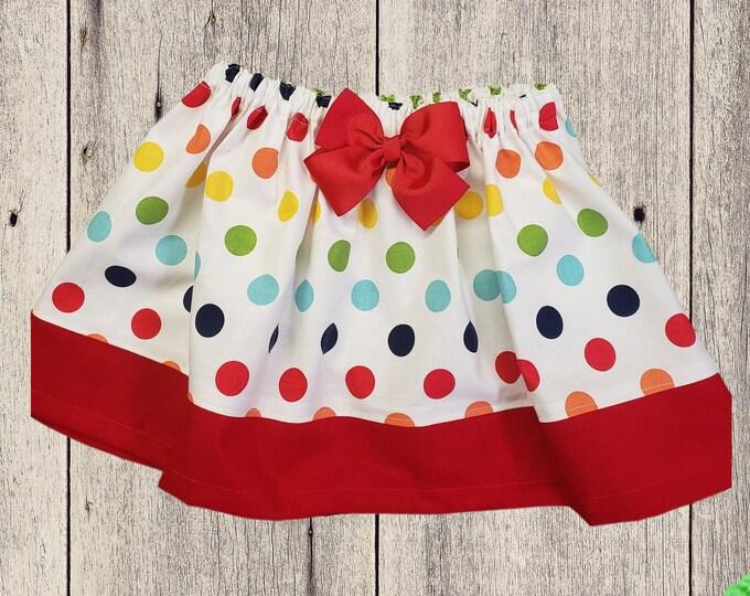 Colorful polka dots birthday skirt girl polka dots skirt Toddler skirt