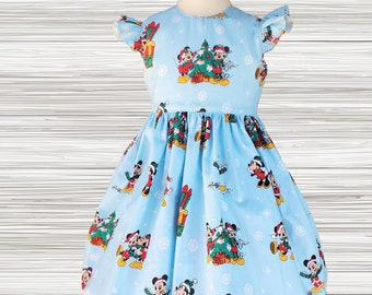 CHRISTMAS Girls dress   Christmas party dress   Mickey Minnie Christmas Dress   Girls Christmas dress   Holiday dress   Girl dress