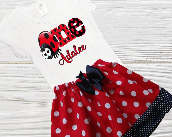 Lady Bug Birthday Outfit | Lady bug Girls dress | Girls Birthday Outfit | Baby Girls Age Outfit | Personalized Girls Outfit