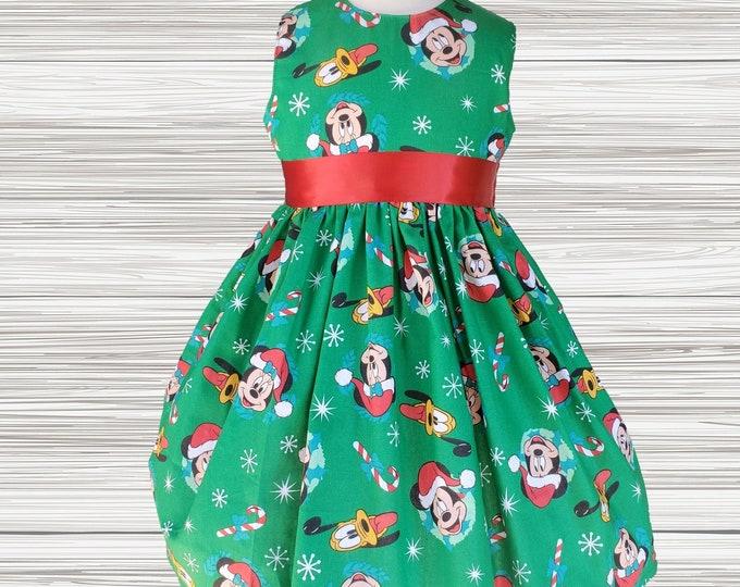 CHRISTMAS Girls dress | Christmas party dress | Mickey Minnie Christmas Dress | Girls Christmas dress | Holiday dress  |Girl dress