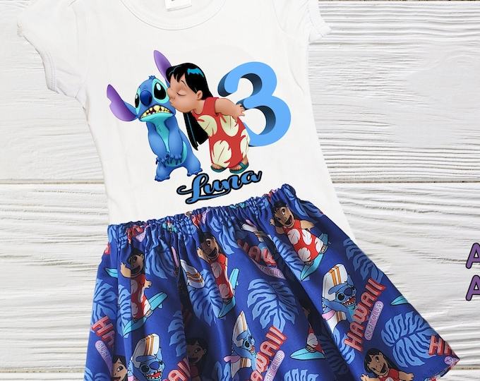 Lilo and Stitch inspired birthday outfit |  Lilo and Stitch girls outfit | Girls clothes | Girls birthday set | Girls outfits