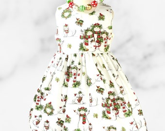 CHRISTMAS Girls Dress   Christmas  dress   Baby Christmas Dress   Holiday girls dress   Girl Christmas Snow Man dress