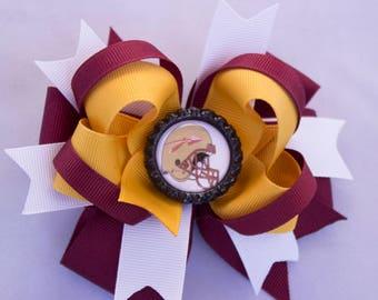 Florida Seminoles hair bow, gold and garnet bow, Florida State University  hair bow, Seminoles girl hair bow
