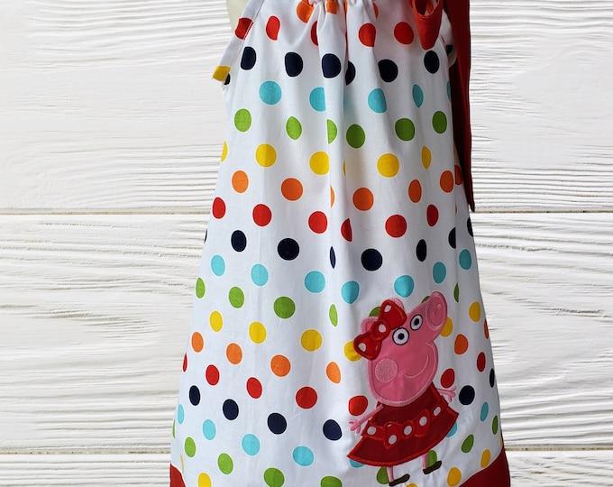 Peppa Pig Pillowcase Dress | Colorful Peppa Pig Pillow Case Dress | Girls dress | Birthday Girls Dress | Personalized Dress