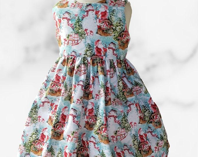 CHRISTMAS Girls dress | Christmas party dress | Christmas Dress | Christmas Santa Claus girl dress | Holiday dress  |Girl dress