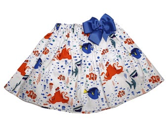 Girl Nemo Dory skirt , Dory girl  skirt,  Girl Skirt,  Girl birthday skit, Nemo  skirt, baby Skirt , Toddle  skirt, Skirts