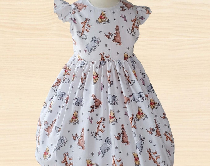 Winnie The Pooh Girls Dress | Winnie Pooh Girls Birthday Dress | Birthday dress |  Girls dress | Classic Pooh girls dress