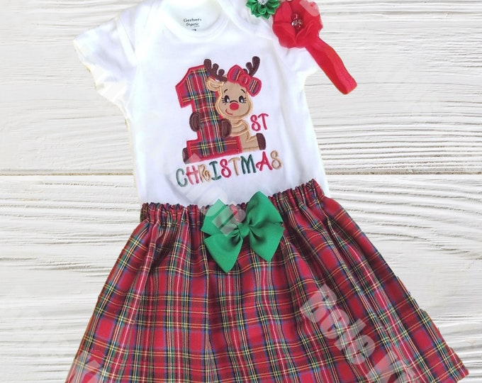 Girl's Christmas Outfit | Christmas Outfit | First Christmas | Baby Girls Reminder Christmas Outfit | Girls  Holiday Outfit