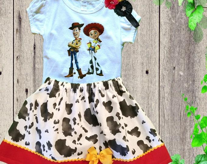 TOY STORY BIRTHDAY outfit - Girls Jessie birthday dress - Personalized Toy Story Jessie outfit - Little girls  dress