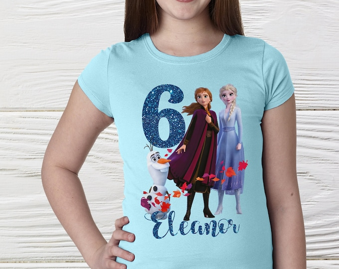 Girls Frozen birthday shirt,  Personalized girls Elsa Anna  shirt,  Queen Elsa Princess Anna shirts