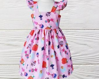 Birthday dress |  Troll girl dress | Poppy Troll ruffle Sleeve dress |  Girls Troll birthday dress |  Girls dresses
