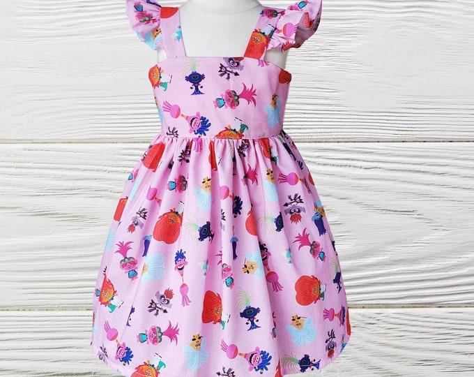 Birthday dress -  Troll girl dress  - Poppy Troll ruffle Sleeve dress -  Toddler Troll birthday dress - Girls dresses
