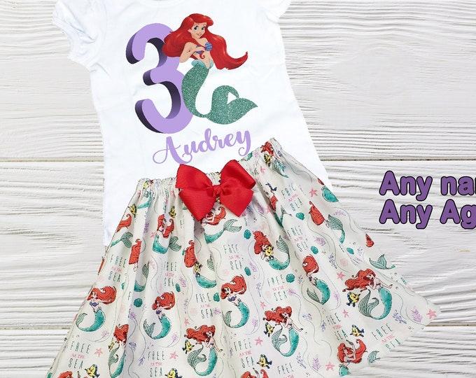 Little  Mermaid birthday outfit - Disney Mermaid personalized outfit - Ariel birthday outfit- Girls birthday dress - Toddler Mermaid outfit