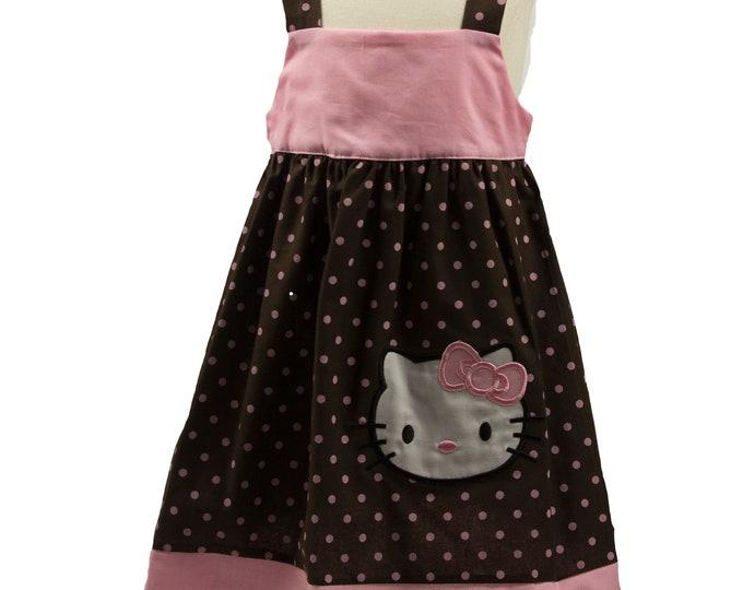 KITTY BIRTHDAY DRESS - Hello girls  birthday dress - Hello summer dress -  toddler birthday dress - kitty  dress