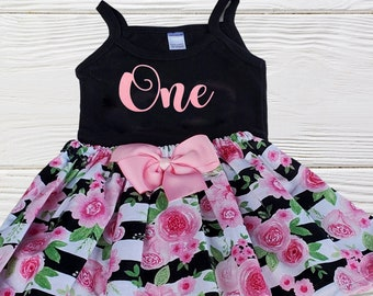 Girls Birthday Outfit   First Second Birthday Outfit   Girls Clothing Set   Baby Girls Floral Birthday Dress   Girls Outfits