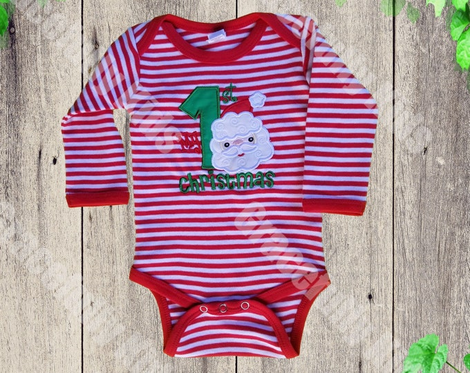 First Christmas pajamas - Red and White baby Christmas pajamas -  Santa Claus  Kids  Pajamas -  Baby First Christmas pajamas
