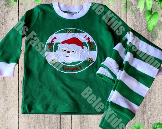 Christmas pajamas - Green and White baby Christmas pajamas - Kids  Pajamas - Santa Claus baby pajamas
