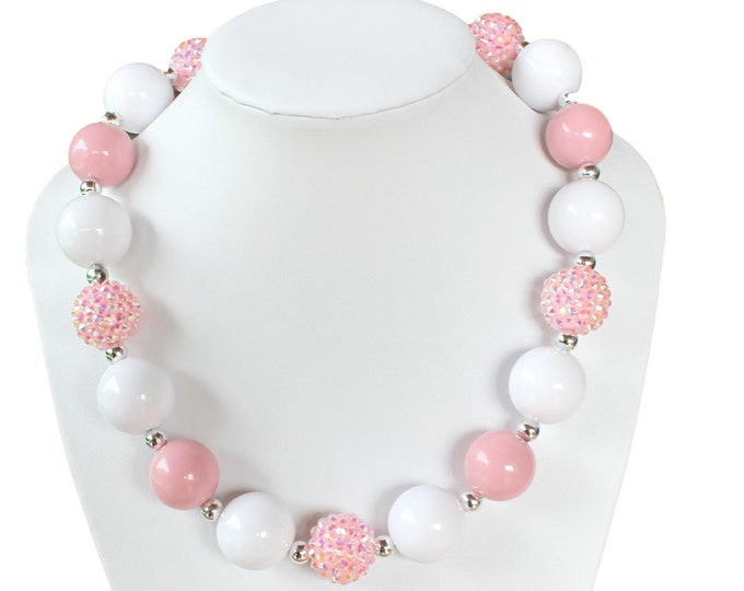 CHUNKY PINK NECKLACE - Chunky Bubble Gum Necklace - Little girls necklaces - Girls chunky necklace - Pink White bubble gum necklace