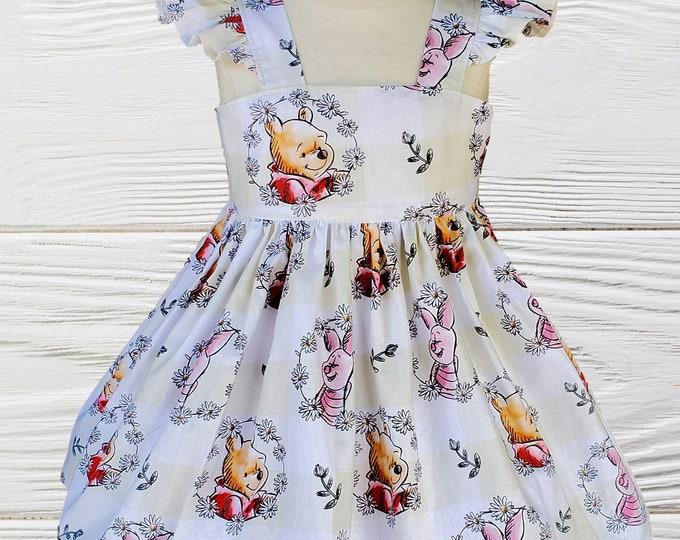 Winnie the Pooh Girls dress |  Winnie Pooh birthday dress  | Classic Pooh girls dress  | Girl Winnie the Pooh dress .