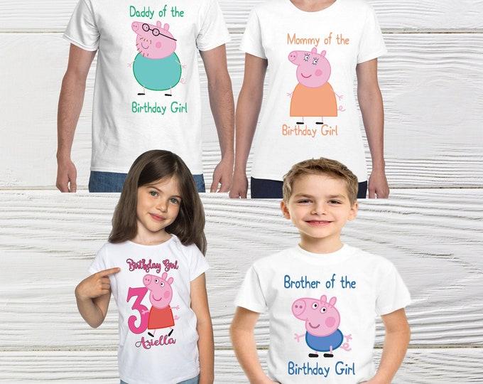 Peppa Pig Custom Family personalized  Birthday Shirts  Peppa Pig Custom T-Shirt