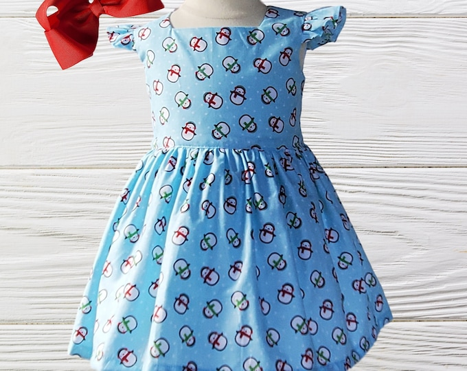 CHRISTMAS SNOWMAN DRESS - Baby First Christmas  dress  - Girl Christmas party dress  - Girls dress