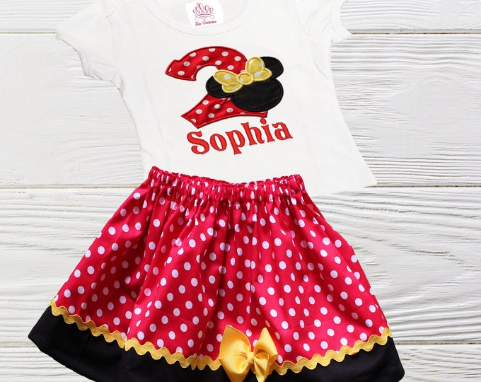 Minnie Birthday Girls Outfit | Minnie  inspired Personalized girls outfit | Girls Birthday dress | Minnie Mouse Girls Outfit