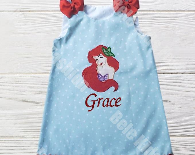 Little Mermaid Dress |  Ariel birthday dress  | Little Mermaid Girls dress | Girls Dress | Girls Birthday  Dress | Ariel Jumper Girls Dress