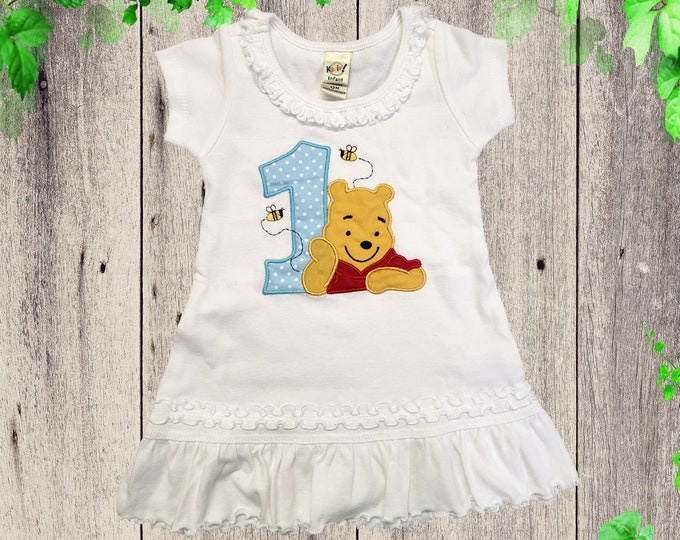 WINNIE THE POOH Pullover dress Birthday dress First year dress Pooh  bear outfit