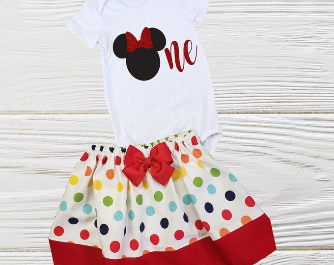First birthday Minnie outfit  Minnie birthday outfit Toddler 1st  birthday baby outfit