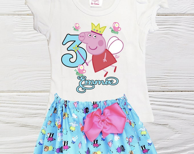 Peppa Pig  birthday outfit | Peppa Pig personalized girls outfit | Girls Peppa Pig clothes | Girls Birthday outfit | Girls dress