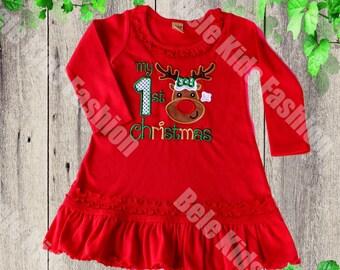 Girls Christmas dress   First Christmas Baby Girls Dress   Long Sleeve Red Christmas Girl Dress   Knit Girls dress   Long Sleeve Girls Dress