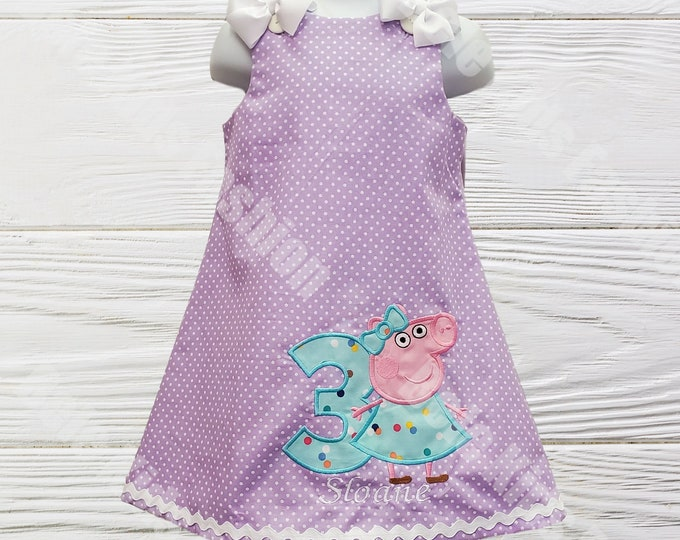 Peppa Pig dress |  Girl birthday dress |   Personalized Peppa Pig birthday dress | Girls dress | Personalized dress