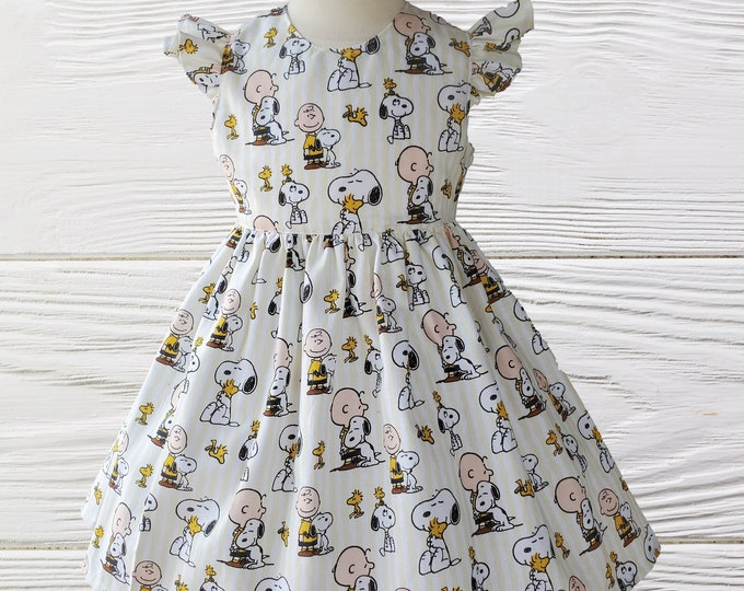 Charlie Brown Snoopy Dress | Peanuts Woodstock Girls Dress |  Birthday Girls Dress |  Snoopy girls dress  |Girls dresses