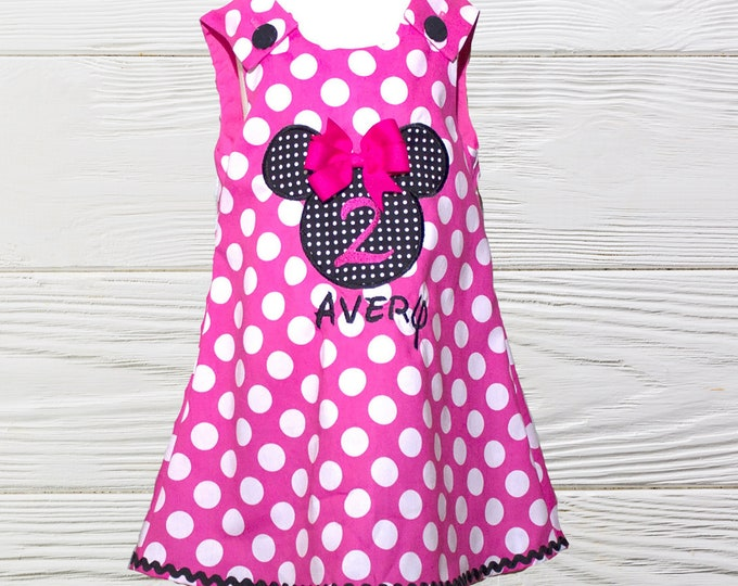 Minnie Mouse Birthday dress | Minnie girls dress | Minnie  personalized dress | Girls Minnie A-line dress | Girls Dress | Girls Jumper Dress