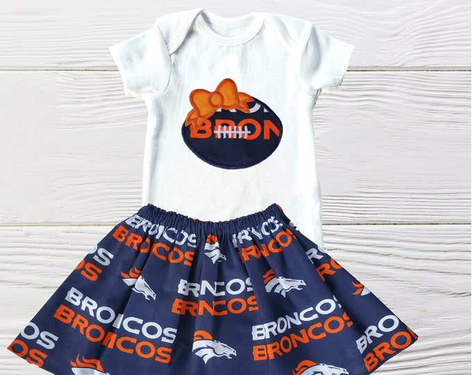 Denver Broncos Baby Outfit | Broncos Girls dress | Denver Broncos Girls Set | Broncos Baby Clothing Set |  Football Baby Outfit