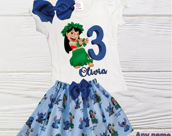 Lilo Stitch birthday outfit | Disney Lilo Stitch inspired Girl Outfit | Girls clothing set|- Lilo  Stitch girls dress | Personalized Outfit
