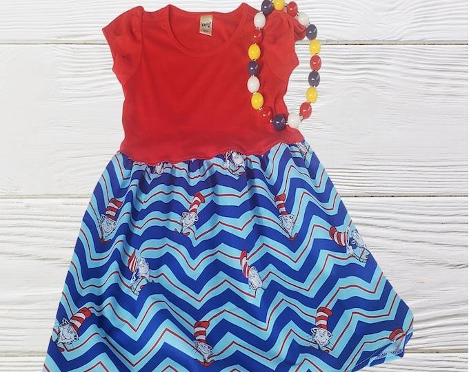 Dr Seuss  dress |Toddler Cat in the Gat  Dress | Cat in the Hat girls birthday dress | School  Dr Seuss Girls dress