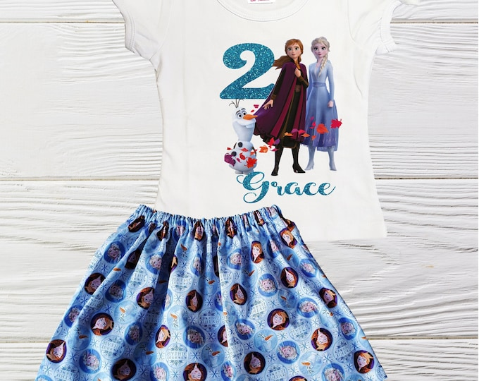Girls Frozen Birthday Outfit | Personalized  Elsa Anna birthday outfit | Girls personalized birthday outfit |  Elsa  Anna girls clothes