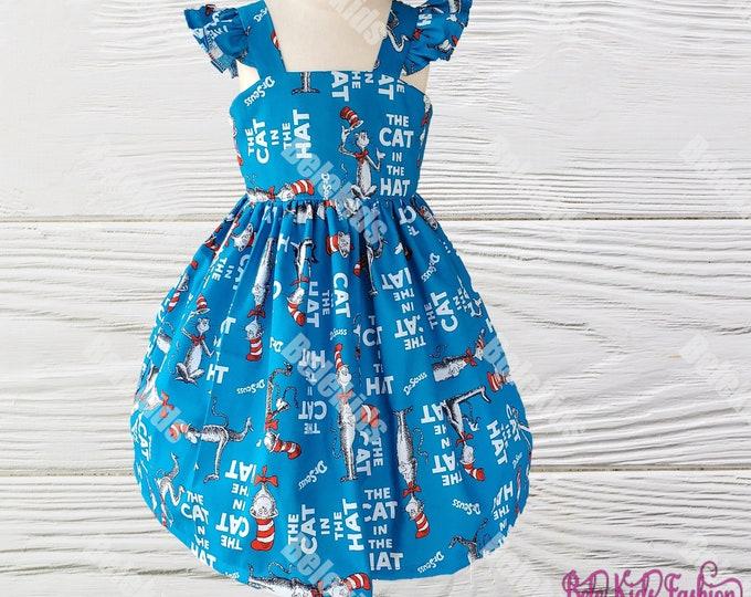Dr Seuss dress | Cat in the Hat Girls Dress | Cat in the Hat girls birthday dress | Girls Dress |  Girls Birthday Dress