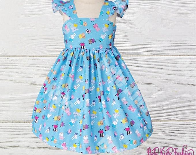 PEPPA PIG DRESS | Girls birthday Dress |  Girl Clothes |  Peppa girls dress