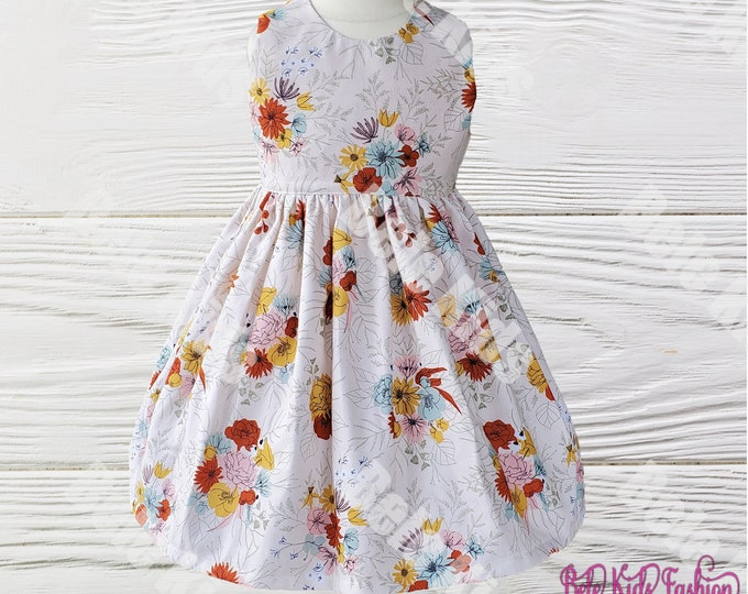 Girl's Floral Dress | Girl's Dress | Birthday Girls dress | Baby Girls dress | Thanksgiving girl dress | Holiday girl dress