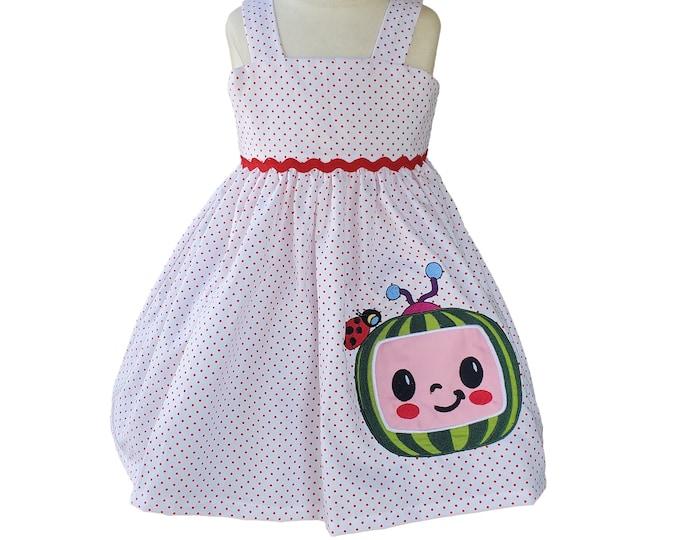 Cocomelon Dress | Toddler Dress | Girl's Dress | Handmade Dress |  Cocomelon Party Dress | Birthday Girl's Dress